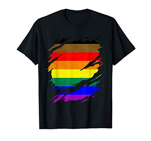 Philly LGBTQ Gay Pride Flag Ripped Reveal T-Shirt