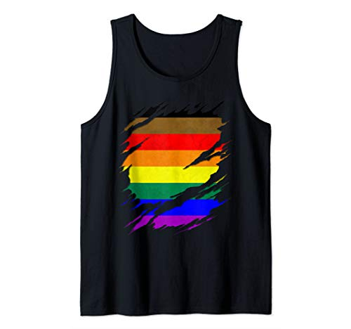 Philly LGBTQ Gay Pride Flag Ripped Reveal Tank Top