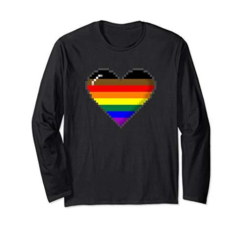 Philly LGBTQ Pride 8-Bit Pixel Heart Long Sleeve T-Shirt