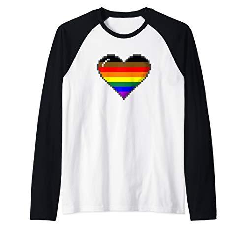 Philly LGBTQ Pride 8-Bit Pixel Heart Raglan Baseball Tee