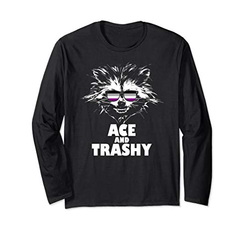 Ace and Trashy Raccoon Sunglasses Asexual Pride Long Sleeve T-Shirt