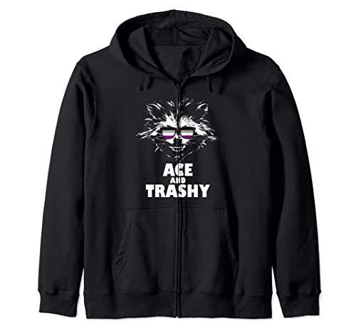 Ace and Trashy Raccoon Sunglasses Asexual Pride Zip Hoodie