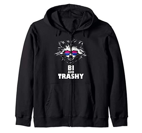 Bi and Trashy Raccoon Sunglasses Bisexual Pride Zip Hoodie