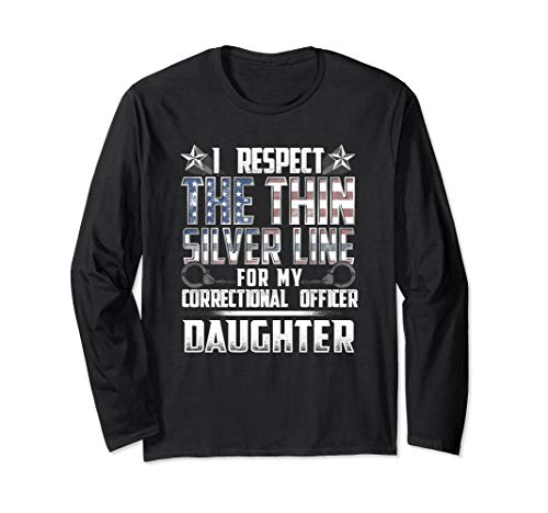 Daughter Thin Silver Line Correctional Officer Long Sleeve T-Shirt