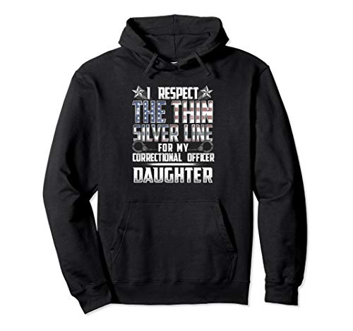 Daughter Thin Silver Line Correctional Officer Pullover Hoodie