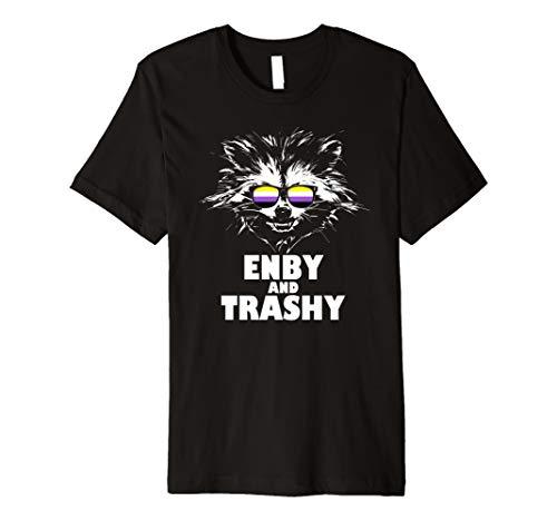 Enby and Trashy Raccoon Sunglasses Non-Binary Pride Premium T-Shirt