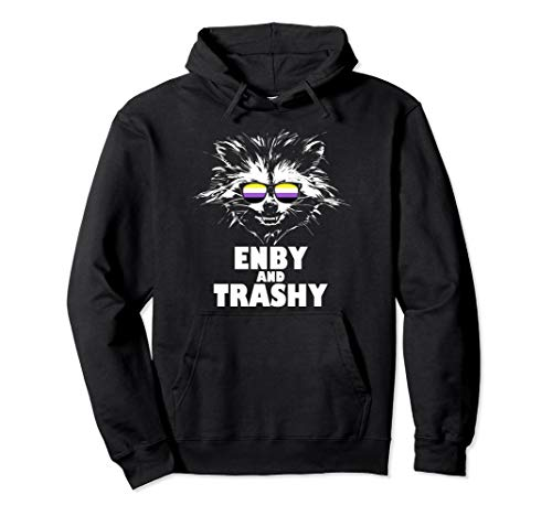 Enby and Trashy Raccoon Sunglasses Non-Binary Pride Pullover Hoodie