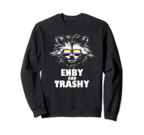 Enby and Trashy Raccoon Sunglasses Non-Binary Pride Sweatshirt