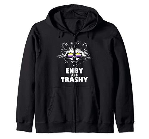 Enby and Trashy Raccoon Sunglasses Non-Binary Pride Zip Hoodie