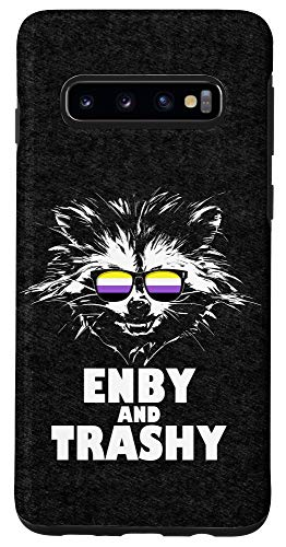 Galaxy S10 Enby and Trashy Raccoon Sunglasses Non-Binary Pride Case