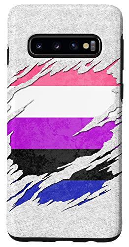 Galaxy S10 Genderfluid Pride Ripped Reveal Case