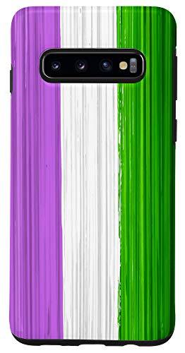 Galaxy S10 Genderqueer Pride Flag Paint Strokes Case