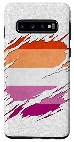 Galaxy S10 Lesbian Pride Flag Ripped Reveal Case
