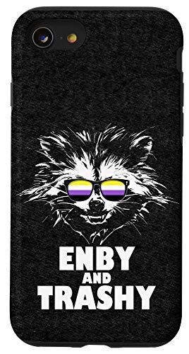 iPhone SE (2020) / 7 / 8 Enby and Trashy Raccoon Sunglasses Non-Binary Pride Case