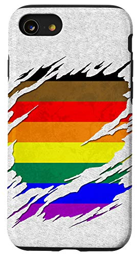 iPhone SE (2020) / 7 / 8 Philly LGBTQ Gay Pride Flag Ripped Reveal Case