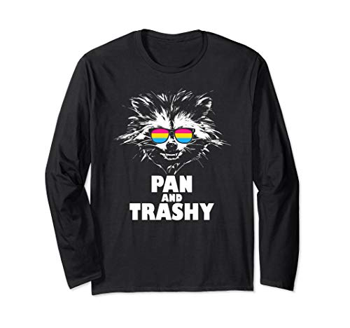 Pan and Trashy Raccoon Sunglasses Pansexual Pride Long Sleeve T-Shirt