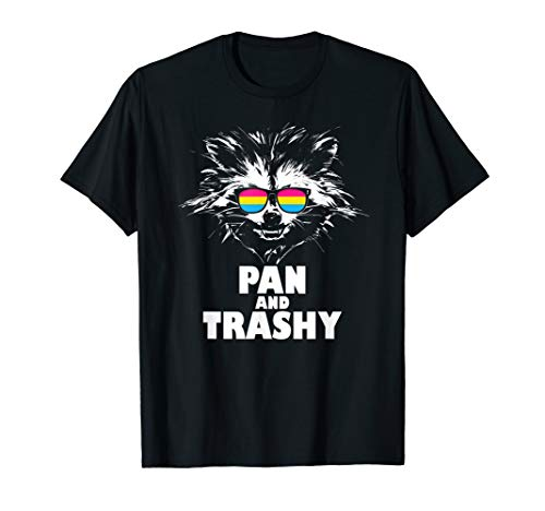 Pan and Trashy Raccoon Sunglasses Pansexual Pride T-Shirt