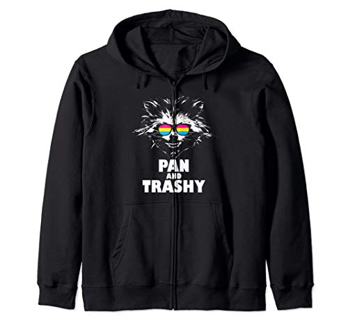 Pan and Trashy Raccoon Sunglasses Pansexual Pride Zip Hoodie