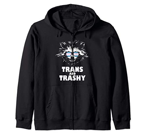 Trans and Trashy Raccoon Sunglasses Transgender Pride Zip Hoodie