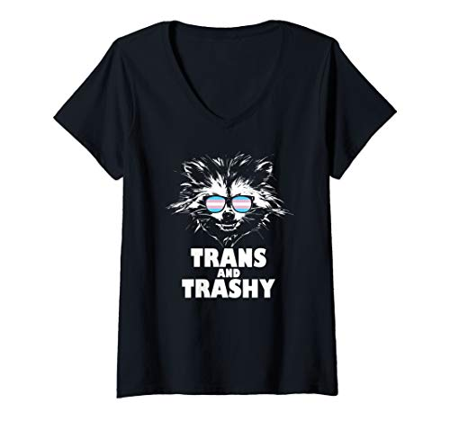Womens Trans and Trashy Raccoon Sunglasses Transgender Pride V-Neck T-Shirt