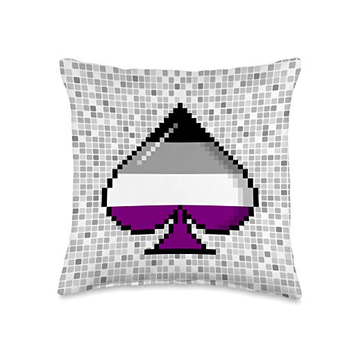 Whee! Design Asexual Pride Flag Pixel 8-Bit Ace Throw Pillow, 16x16, Multicolor