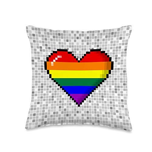 Whee! Design LGBTQ Rainbow Pride 8-Bit Pixel Heart Throw Pillow, 16x16, Multicolor