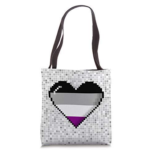 Asexual Pride 8-Bit Pixel Heart Tote Bag