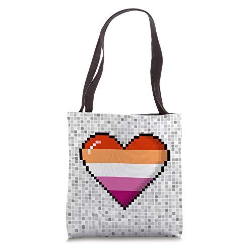 Lesbian Pride 8-Bit Pixel Heart Tote Bag