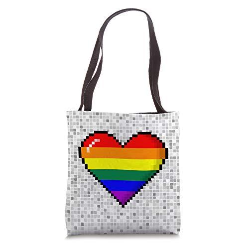 LGBTQ Rainbow Pride 8-Bit Pixel Heart Tote Bag