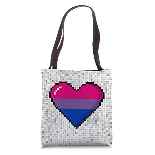 Bisexual Pride 8-Bit Pixel Heart Tote Bag