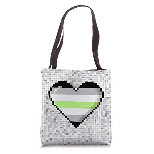 Agender Pride 8-Bit Pixel Heart Tote Bag