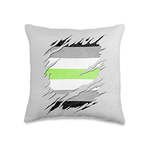 Whee! Design Agender Pride Flag Ripped Reveal Throw Pillow, 16x16, Multicolor