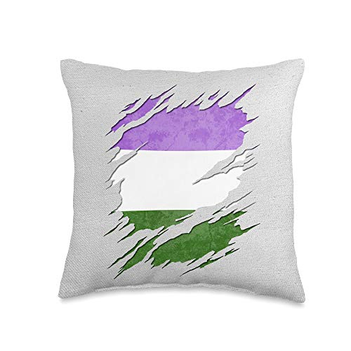 Whee! Design Genderqueer Pride Flag Ripped Reveal Throw Pillow, 16x16, Multicolor