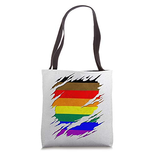 Philly LGBTQ Gay Pride Flag Ripped Reveal Tote Bag
