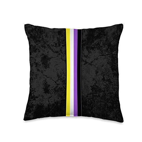 Whee! Design Nonbinary Pride Flag Stripe Throw Pillow, 16x16, Multicolor