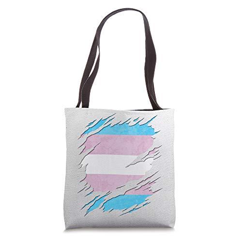 Transgender Pride Flag Ripped Reveal Tote Bag
