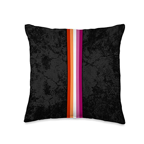 Whee! Design Lesbian Pride Flag Stripe Throw Pillow, 16x16, Multicolor