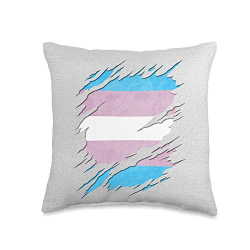 Whee! Design Transgender Pride Flag Ripped Reveal Throw Pillow, 16x16, Multicolor