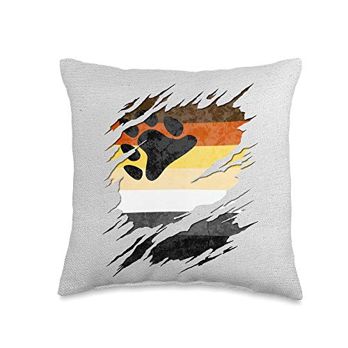 Whee! Design Gay Bear Pride Flag Ripped Reveal Throw Pillow, 16x16, Multicolor
