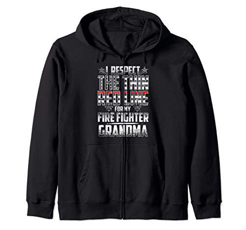 Grandma Fire Fighter Thin Red Line Zip Hoodie