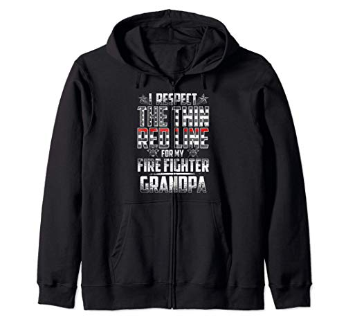 Grandpa Fire Fighter Thin Red Line Zip Hoodie