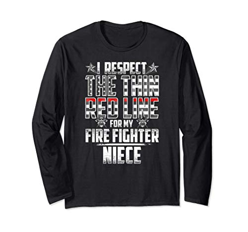 Niece Fire Fighter Thin Red Line Long Sleeve T-Shirt
