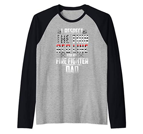 Dad Fire Fighter Thin Red Line Raglan Baseball Tee
