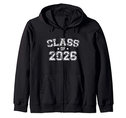 Distressed Class of 2026 Zip Hoodie