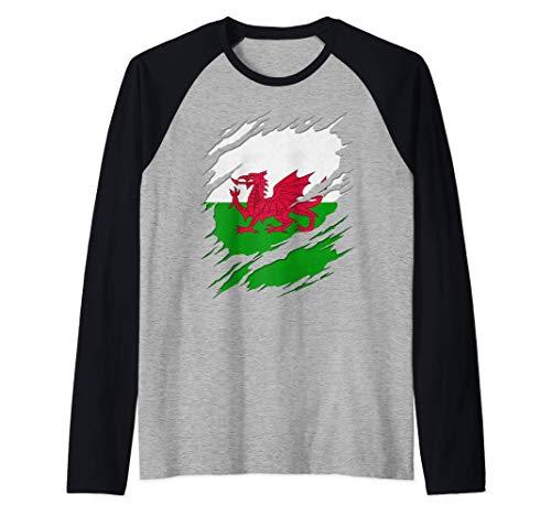 Flag of Wales Welsh Flag Ripped Reveal Raglan Baseball Tee