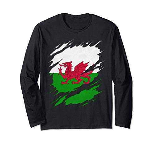 Flag of Wales Welsh Flag Ripped Reveal Long Sleeve T-Shirt