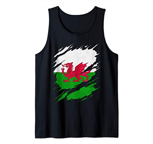 Flag of Wales Welsh Flag Ripped Reveal Tank Top