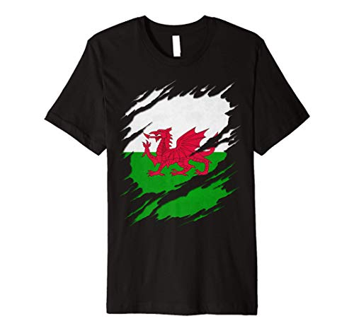 Flag of Wales Welsh Flag Ripped Reveal Premium T-Shirt