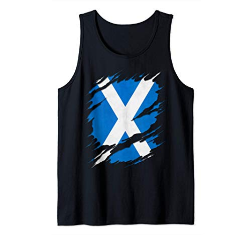 Flag of Scotland Saint Andrew's Cross Ripped Reveal Tank Top