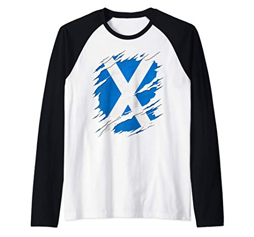 Flag of Scotland Saint Andrew's Cross Ripped Reveal Raglan Baseball Tee